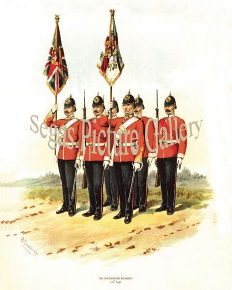 Fine art print of the British Military of The Lincolnshire Regiment (10th Foot) by Richard Simkin